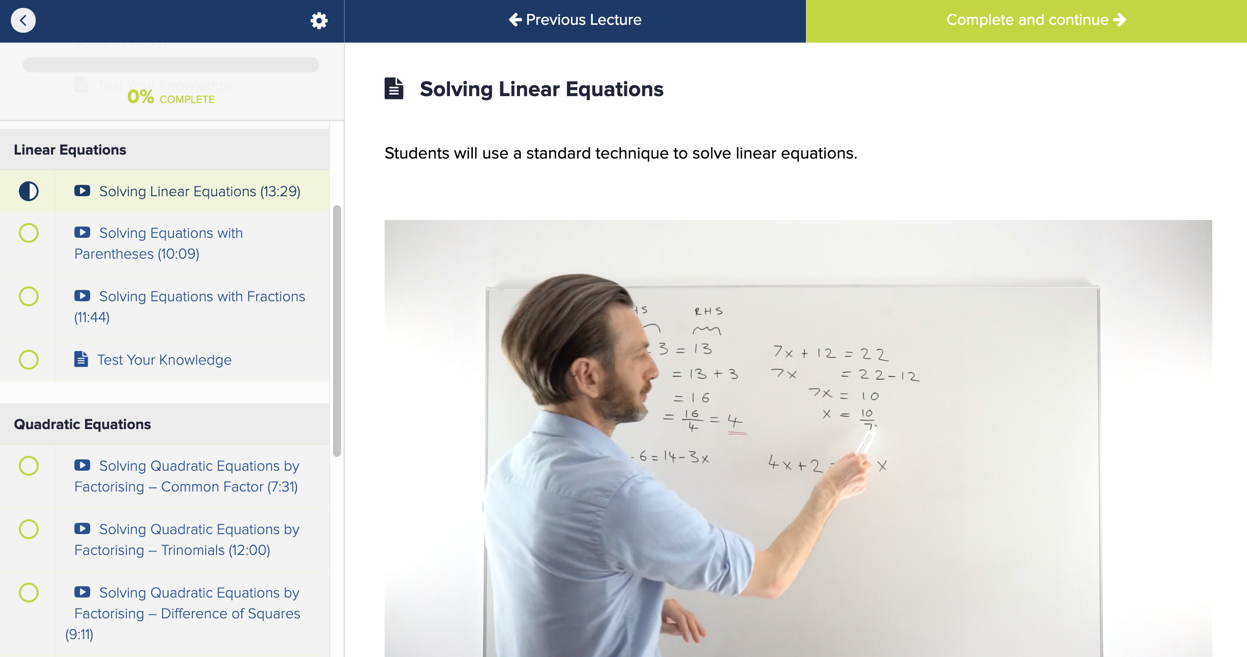 Free equations class
